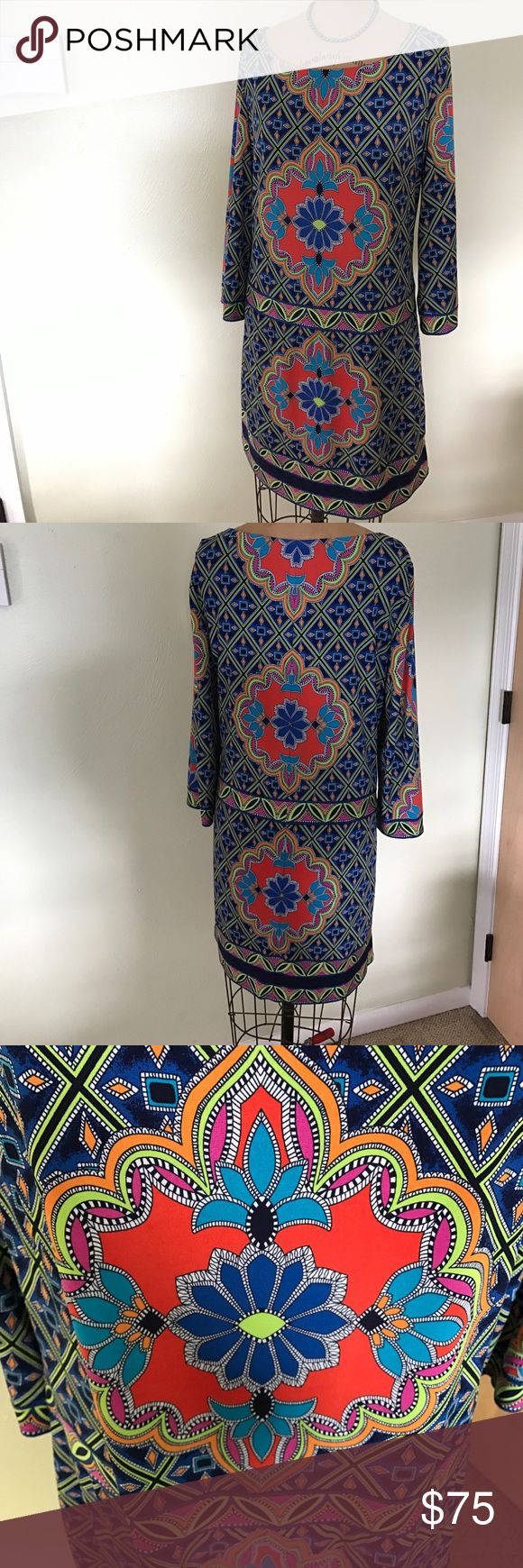 Laundry Shelli Segal medallion shift dress NWOT. Multicolored medallion pattern. Poly with 5% spandex. Body is lined. Laundry by Shelli Segal Dresses Long Sleeve