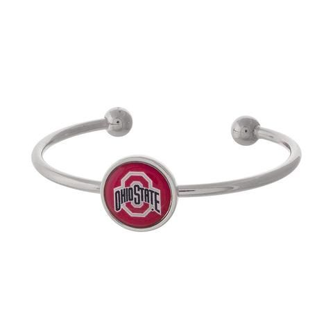 Ohio State Bracelet, Silver Cuff Bracelet, Silver Bracelet, College Game Day Accessories- $18- purchase at https://allthingslovelyshop.com/products/ohio-state-silver-tone-cuff-bracelet