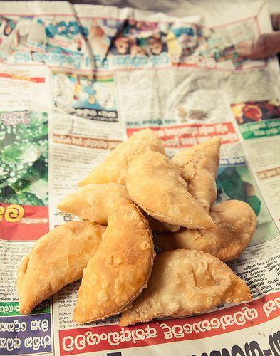 Potato Curry Patties served on local newspaper, Tea Country, Sri Lanka (www.secretlanka.com)