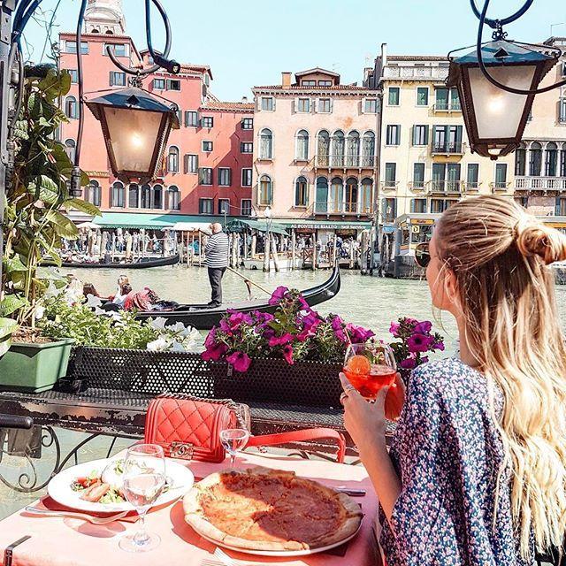 Venice...we found a cute place for pizza and aperol with a Rialto bridge view. ❤️  #Venice #Venezia #Italy