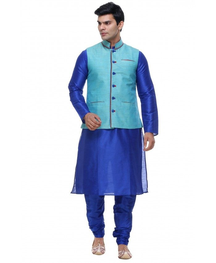 BLUE JACKET SUIT FOR MENS Designer special blue jacket suit for mens. Best look in sky blue color jacket on blue dhoti kurta. Three pockets and dark blue buttons on jacket. Best appearance. Product Code: IP1119 Hurry Up!!!!!!!!!!! Buy Now :http://www.indianposhakh.com/Mens/JACKET-SUIT-169
