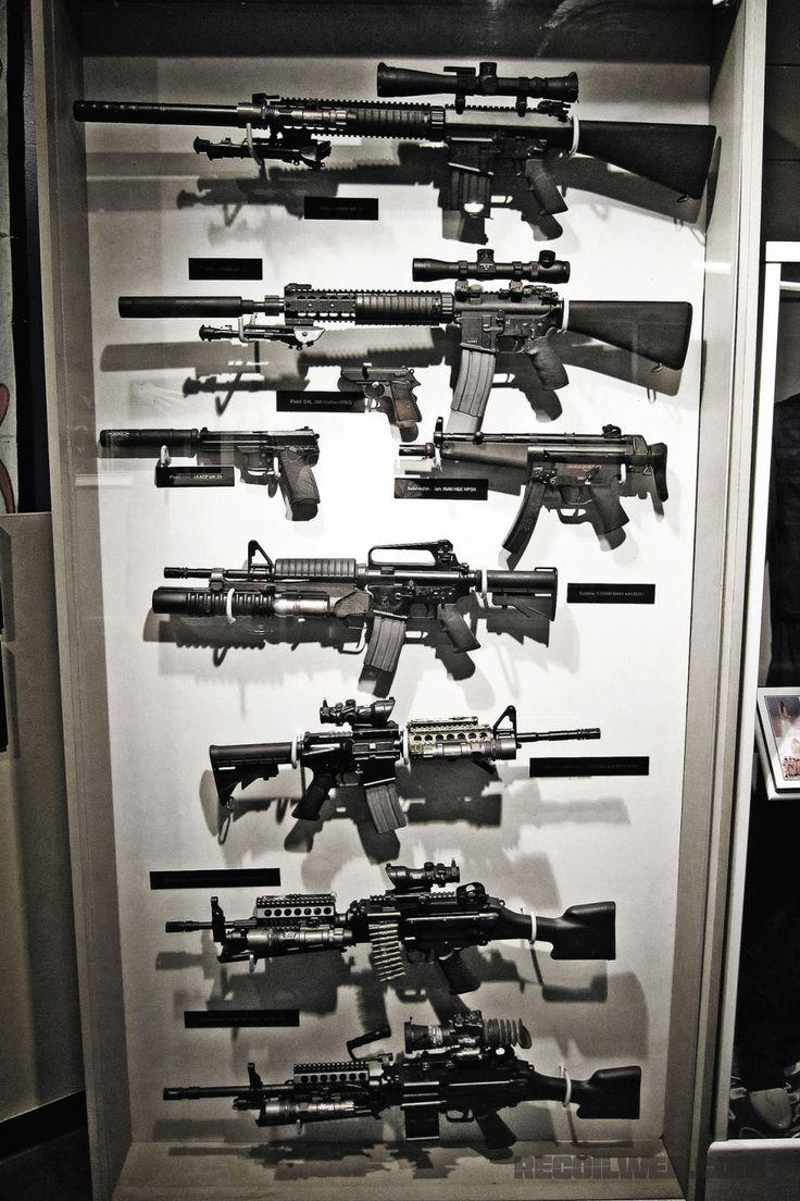 Display of weapons used by Navy Seals, Mk11, Mk12, PPK ...
