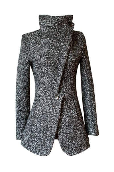 Funnel Neck Coat - love the asymmetric lapel and the notch above the button.