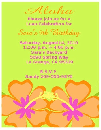 Aloha Hawaiian  Birthday Party Invitations