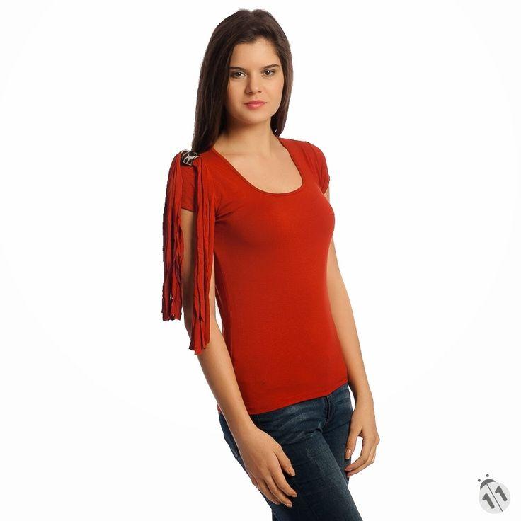 omzu püsküllü kiremit rengi kadın tişört