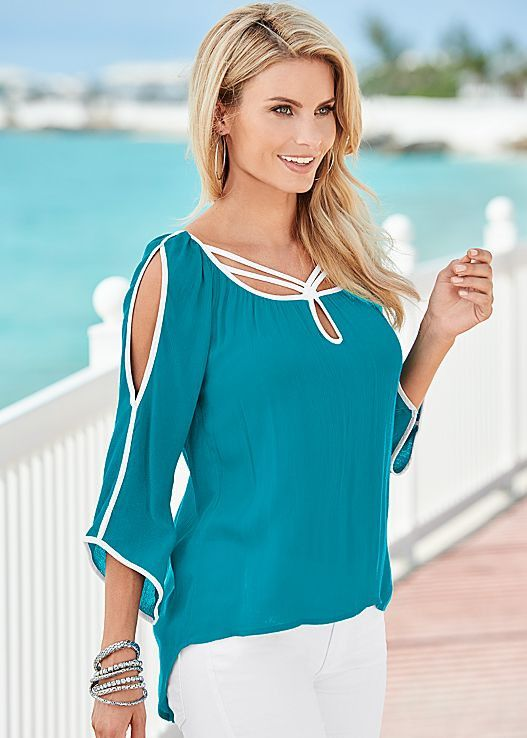 Chiffon blouse can make you looked charming and this blouse with bat-wing sleeves can make you looked much more fashion, shoulder out style can show your sexy shoulder,and you can get one you prefer t