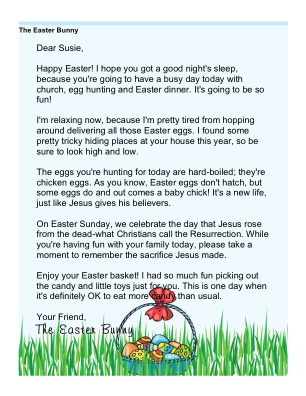 Printable Religious Easter Morning Letter From The Bunny