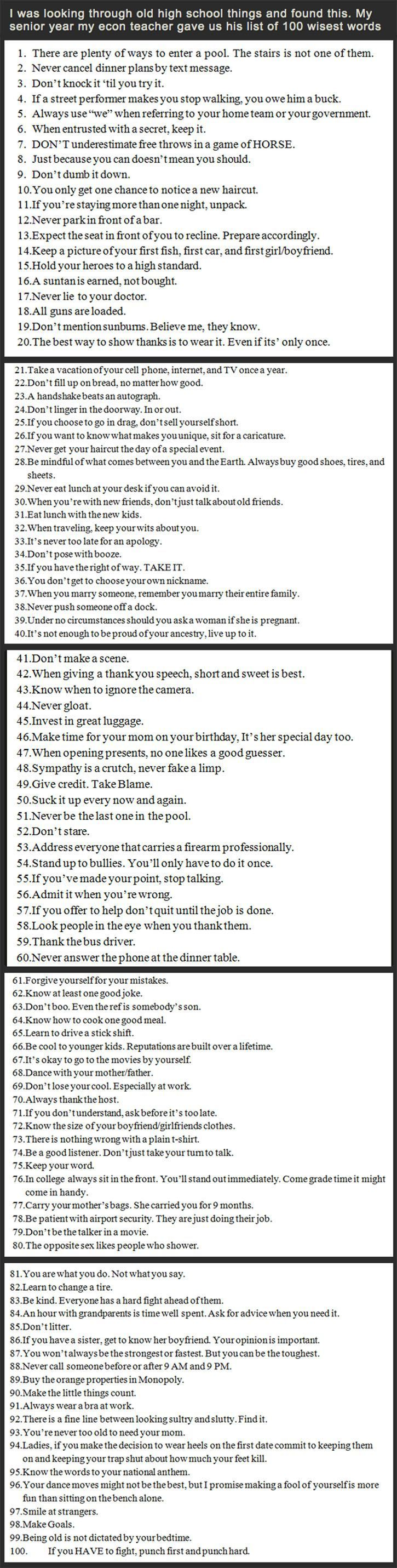 100 Pieces of Life Advice - to high schoolers from an Econ teacher