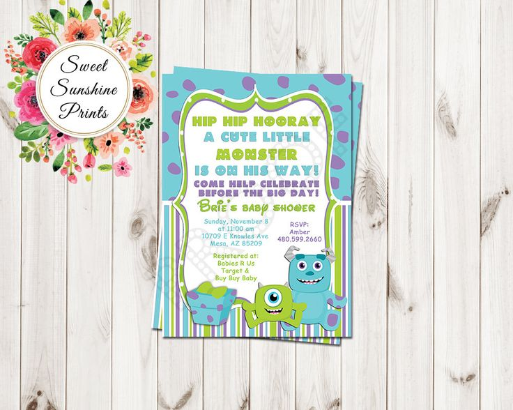 Monster Inc Boy Baby Shower Invitation - Sully - Mike - by SweetSunshinePrints on Etsy https://www.etsy.com/listing/247285247/monster-inc-boy-baby-shower-invitation
