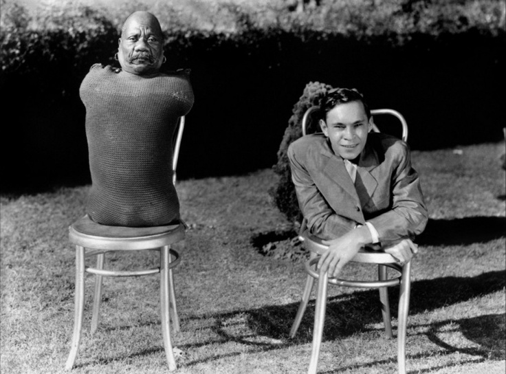 Prince Randian and Johnny Eck during filming of Tod Browning's Freaks (1932)