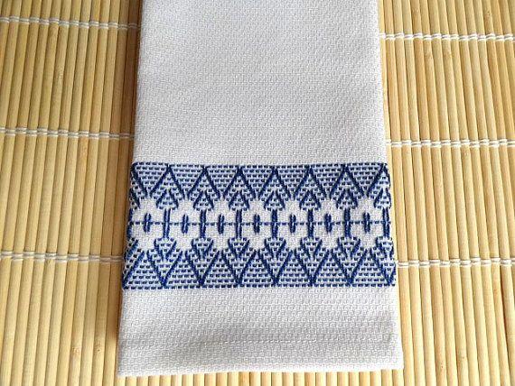 Tea Towel Dish Towel Swedish Weaving Blue by SnowboundMe on Etsy, $16.00
