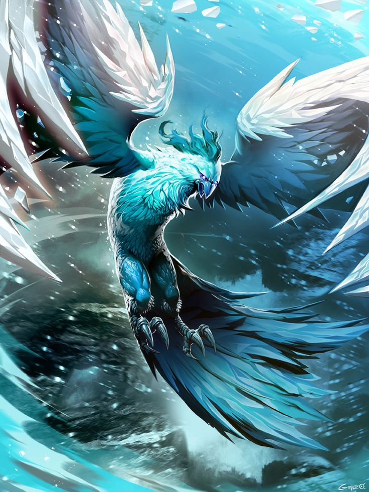 Ice Phoenix by GENZOMAN cold elemental bird monster beast creature animal | Create your own roleplaying game material w/ RPG Bard: www.rpgbard.com | Writing inspiration for Dungeons and Dragons DND D&D Pathfinder PFRPG Warhammer 40k Star Wars Shadowrun Call of Cthulhu Lord of the Rings LoTR + d20 fantasy science fiction scifi horror design | Not Trusty Sword art: click artwork for source