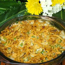 Green Bean Casserole Recipe: Baby boomers fondly remember the simple classic green bean casserole as a Thanksgiving favorite. This version is updated a bit to add fresh mushrooms. It also uses frozen green beans which contain less salt and retain more color. The traditional dish is considered almost decadent these days with cream of mushroom soup and crispy fried onions on top.