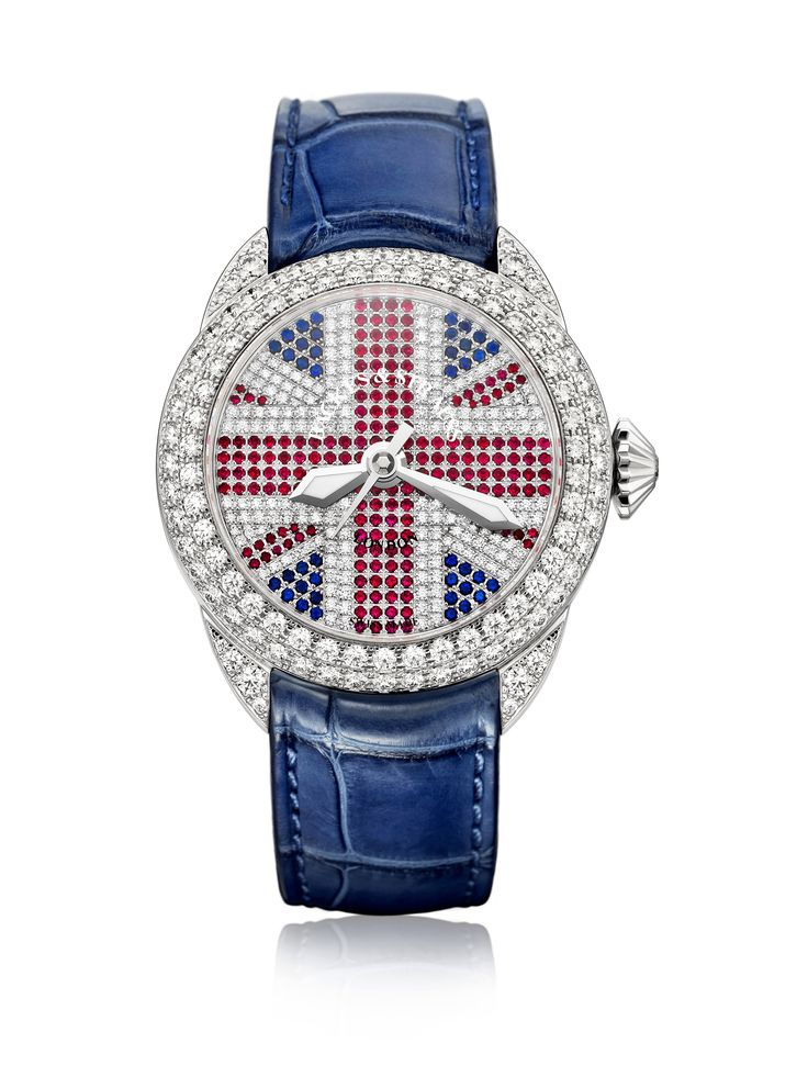 The Piccadilly John Bull marks the passing of two centuries since Backes & Strauss established its first London office in the Hatton Garden diamond district.Its dial is set with 182 Ideal Cut diamonds, 186 rubies and 40 sapphires to create the instantly recognisable pattern of the Union Jack flag, behind which lies a self-winding, mechanical movement. The 18 carat white gold case, meanwhile, is set with 106 further diamonds around the bezel, with a single, Ideal Cut diamond nestling in the…
