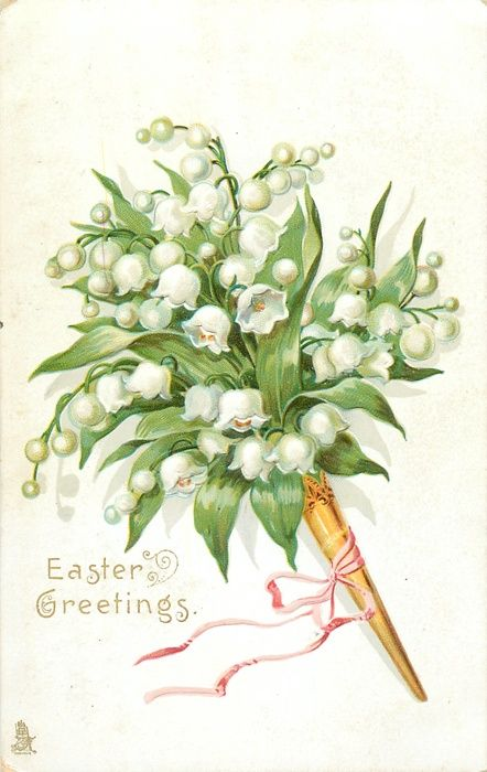 EASTER GREETINGS  lilies-of-the-valley in gold holder tied with pink ribbon