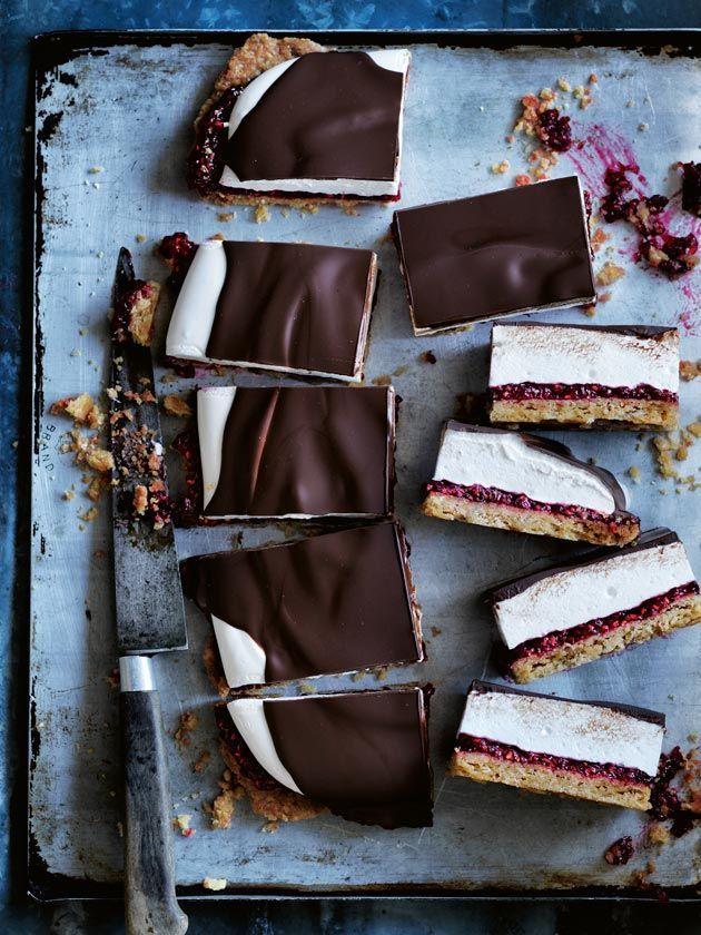... chocolate and raspberry marshmallow slice ...