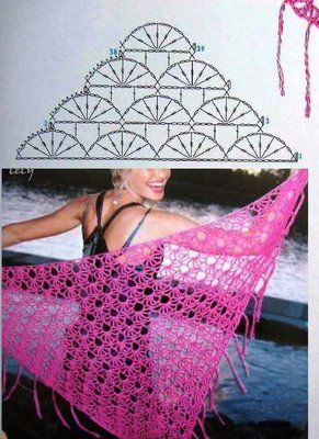 """#Crochet_Stitches - Gorgeous and simple Crochet Stitch. It looks wonderful made into this shawl, but could be used in other ways too. The link is to this picture with the crochet chart, no other instructions in this Italian language blog."" comment via #KnittingGuru"