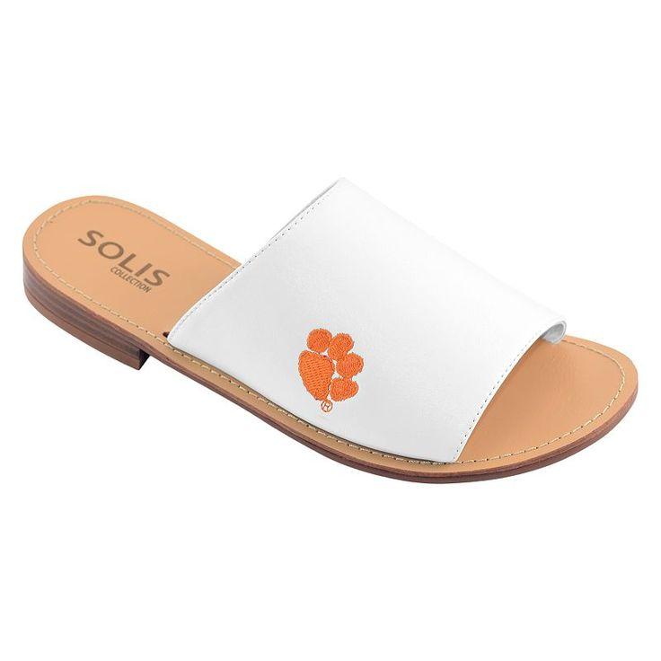 Women's Clemson Tigers Fashionable Slide Sandals, Size: 10, White