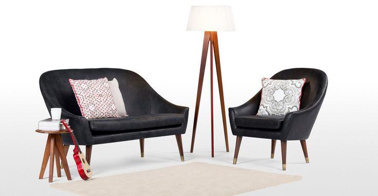 Seattle 2-Sitzer-Sofa, Oxford Schwarz Premium Leder | made.com