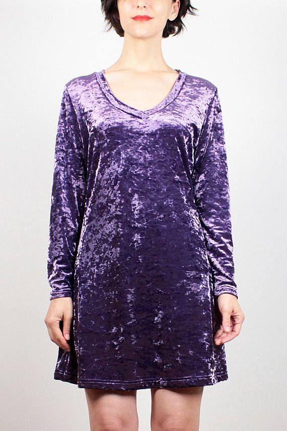 Vintage 90s Dress Purple Crushed Velvet Dress 1990s Dress Long Sleeve Soft grunge Dress 1990s Dress Club Kid Dress Hipster Shift M Medium L #1990s #90s #mini #dress #etsy #vintage #soft #grunge #crushed #velvet #babydoll #tshirtdress #softgoth