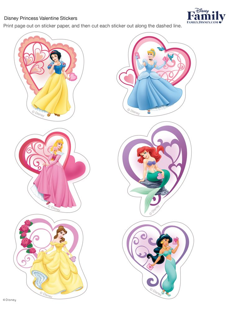 Disney Princess Valentine Stickers... What makes Valentine's Day even more fun? These Disney Princess Valentine stickers.