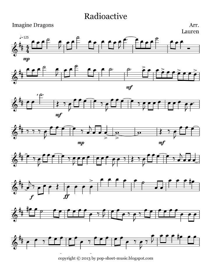 Free Pop Sheet Music: Radioactive - Imagine Dragons (Flute / Oboe)