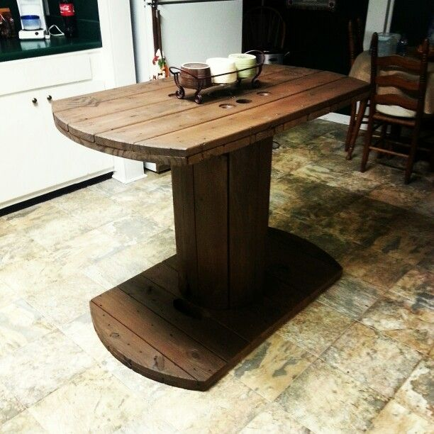 exciting cable spool kitchen table | Kitchen island made from a wire spool. I just cut the ...