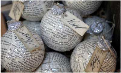 I'm so making these with sheet music!Crafts Ideas, Christmas Crafts, Christmas Decoration Crafts, Christmas Ornament Crafts, Christmas Decor Crafts, Christmas Ornaments Crafts, Christmas Ideas, Newspaper Ornaments, Diy Christmas Ornaments