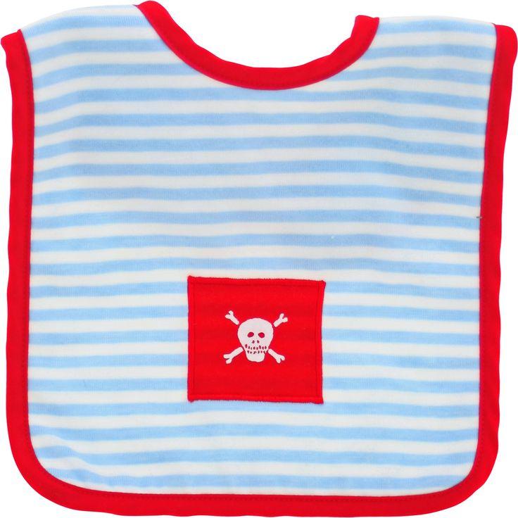 Pirate Bib - Pale Blue Stripe Red Trim - 'A'hoy me matey!' Cute Pirate Bib - Pale Blue