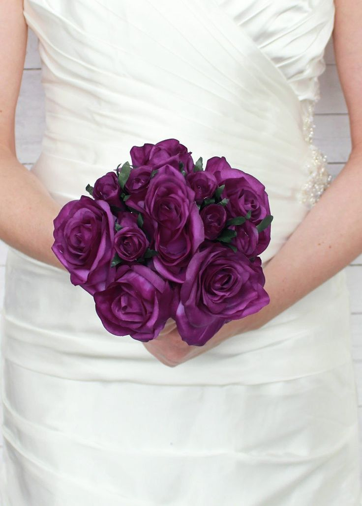 "Rose Nosegay Standing Bouquet in Purple12"" Tall x 8"" Bouquet Head"