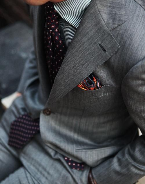 Nice combination with a splash of color in the pocket square.