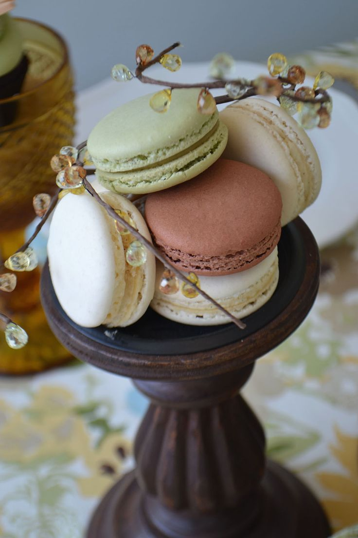 Pistachio, Mocha and Vanilla Bean Macarons for Thanksgiving. From Bake Sale Toronto.