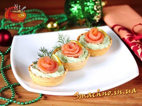 Тарталетки з лососем та авокадо