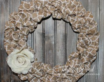 Rustic LOVE Valentines Wall Hanging Burlap by ToadstoolPond