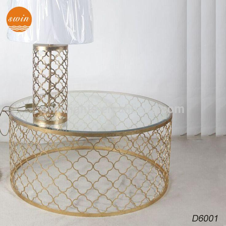 Antieke meubelen bladgoud afgeschuinde glazen tafel, ijzer ronde tafel gemaakt in china
