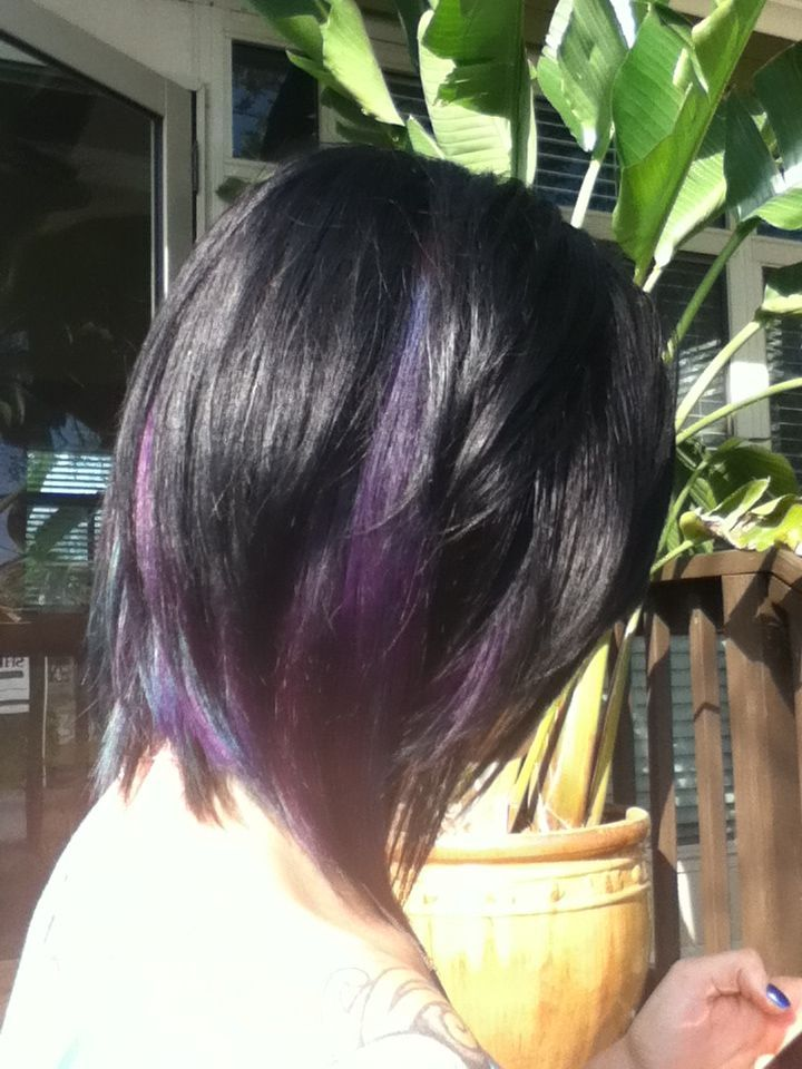 long angled layered bob with purple throughout i love this long layered angled bob hairstyles 720x960