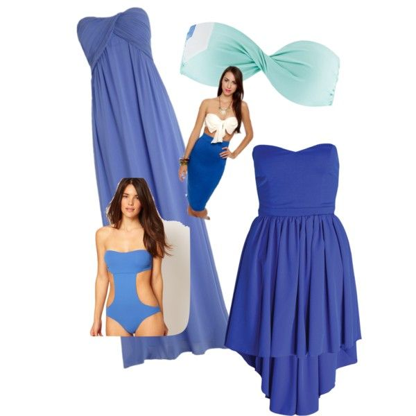Bandeau Blue by vanessavogue on Polyvore featuring Paprika, Tatjana Anika and L*Space
