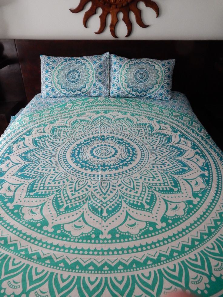 Green With Envy Ombre Mandala Tapestry Bed Set
