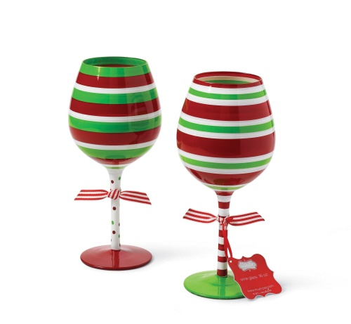 Striped Holiday Wine Glasses by Mud Pie
