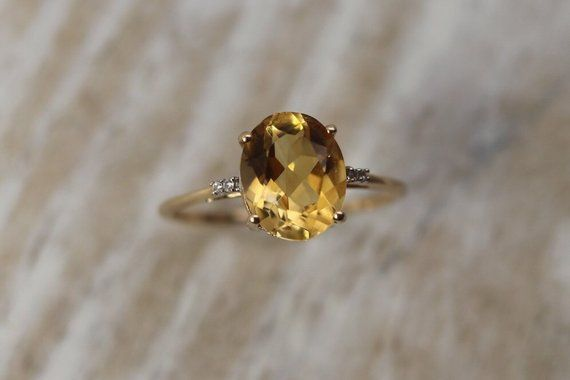 Estate Citrine And Diamond Ring Size 9 25 Us 10k Gold Citrine Statement Ring November Birthstone 13th Anniversary Fine Estate Jewelry Jewelry Birthstone Jewelry Diamond Ring
