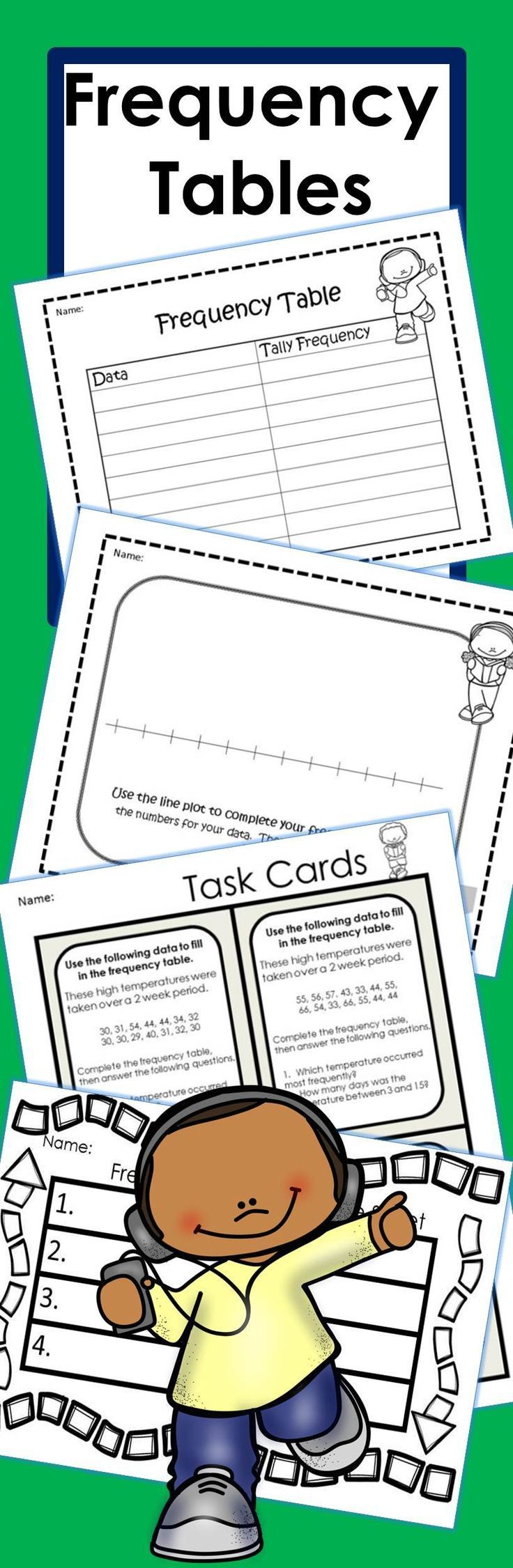 I needed frequency tables for my students to practice and use applied skills for upcoming state testing!! So, I created these to use in my 3rd grade class!  You can print these as worksheets to plot and graph or you might print the data cards as task cards. I laminated all these to use with dry erase markers for file folder game!! I also have used the frequency tables as worksheets!