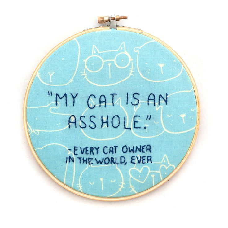 Sew Scatterbrained: Free Embroidery Pattern: My Cat is An Asshole
