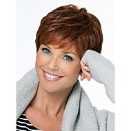 [$26.99] Human Hair Capless Wigs Pixie Cut / Layered Haircut / With Bangs Side Part Light Brown Short Wig Deep Wave Women's Daily / Wavy