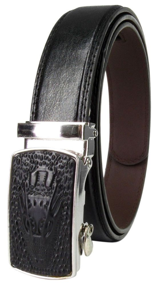 Men Genuine Leather Automatic Ratchet Click Lock Dragon Head Buckle Belt