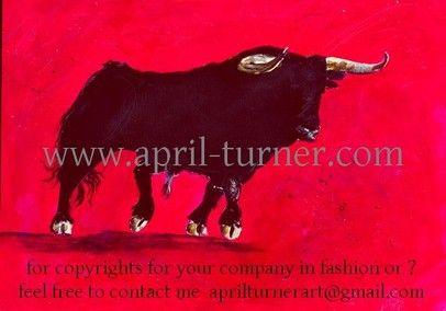 2004 toro schwarzer stier auf rotem grund