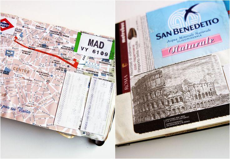 Cadernos pretos com bilhetes de avião
