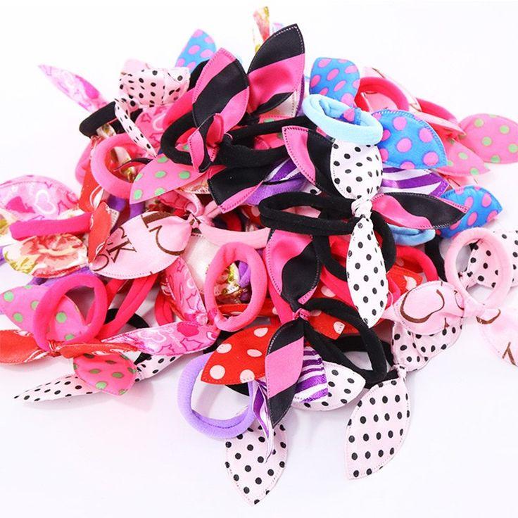 10 Teile/los Großhandel Neue Mode Gilrs Niedlichen Kaninchen Ohren Elastischen Haargummibänder Zubehör Frauen Pferdeschwanz Haar-halter Krawatte Gum