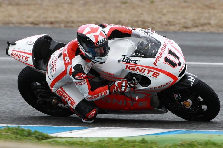 Ben Spies looking a bit awkward on his Pramac Ducati GP13