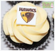 AFL cupcakes, Hawthorn Hawks party themed. perfect for birthday party or a baby shower.  Avail from Lilydale, Vic, Australia