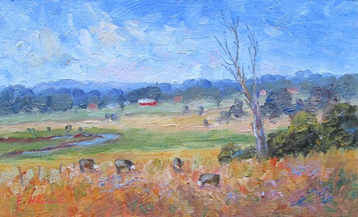 View from Police Paddocks, Victoria, Australia Original Impressionist Oil Painting by Enoch Hlisic